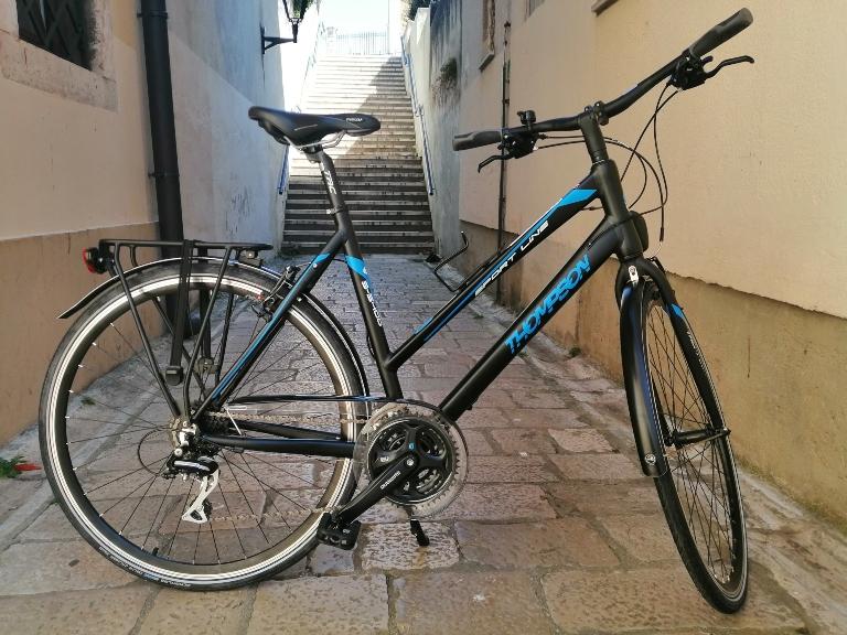 Plavo-crni ženski gradski bicikl